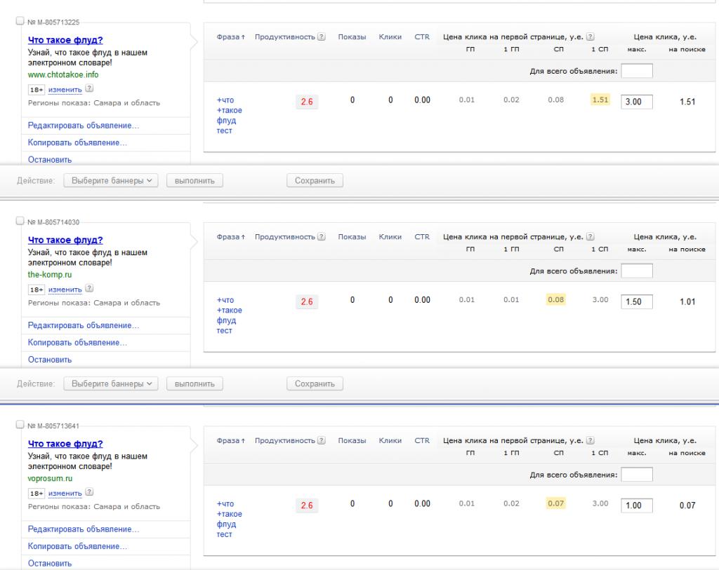 Примеры подпорок в Яндекс.Директе
