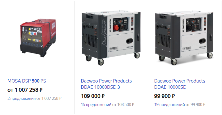 Цены на генератор в Яндекс.Маркете